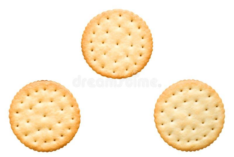 Three round cracker with salt stock photo