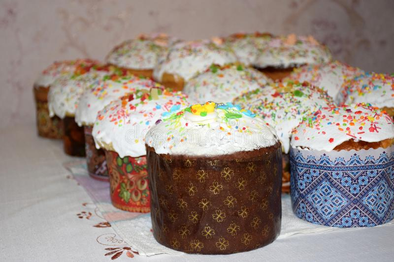 Three rows of home baked Easter cakes on the holida royalty free stock image