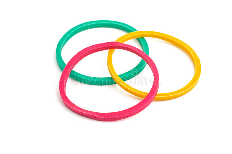 Three rubber bands. On a white background stock photo