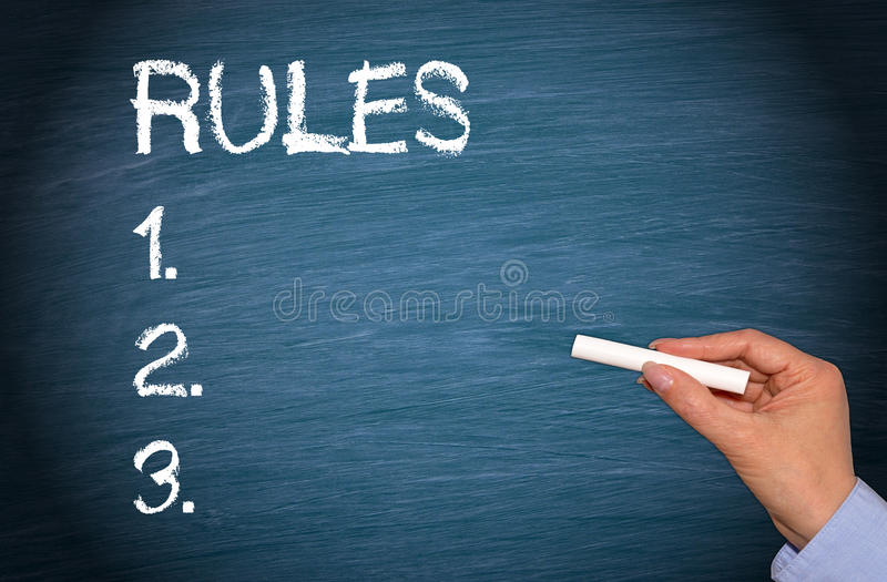 Three Rules. Rules and numbers 1, 2 and 3 written on chalkboard with female hand holding chalk royalty free stock photography