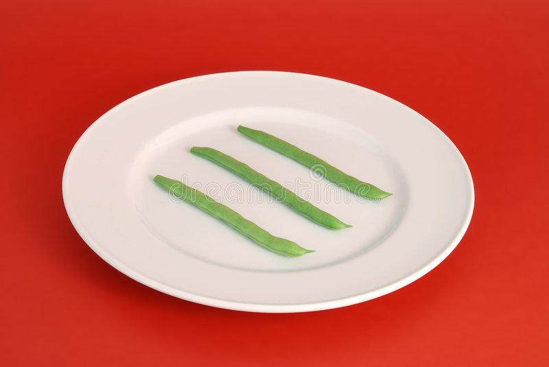Three Runner Beans On Plate Stock Images