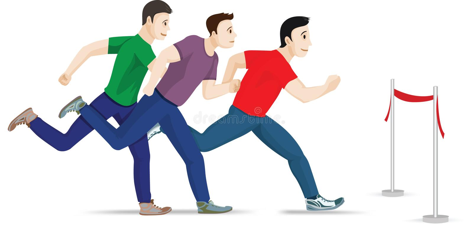 Three runners. Three figures of men running with one leader vector illustration