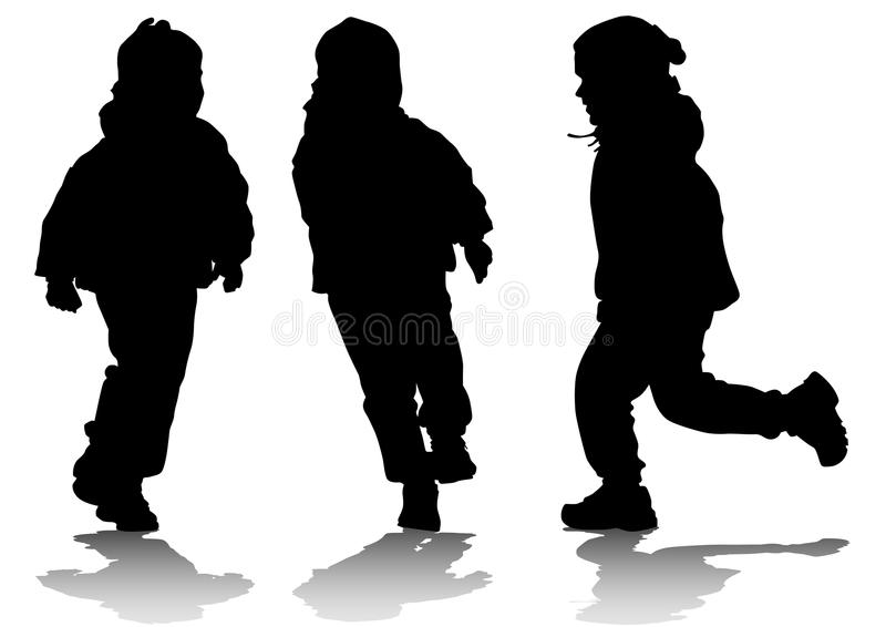 Three running children