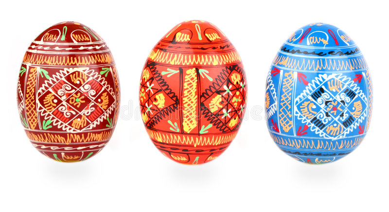 Download Three Russian Tradition Easter Eggs Abreast Over W Stock Photo - Image: 4715278