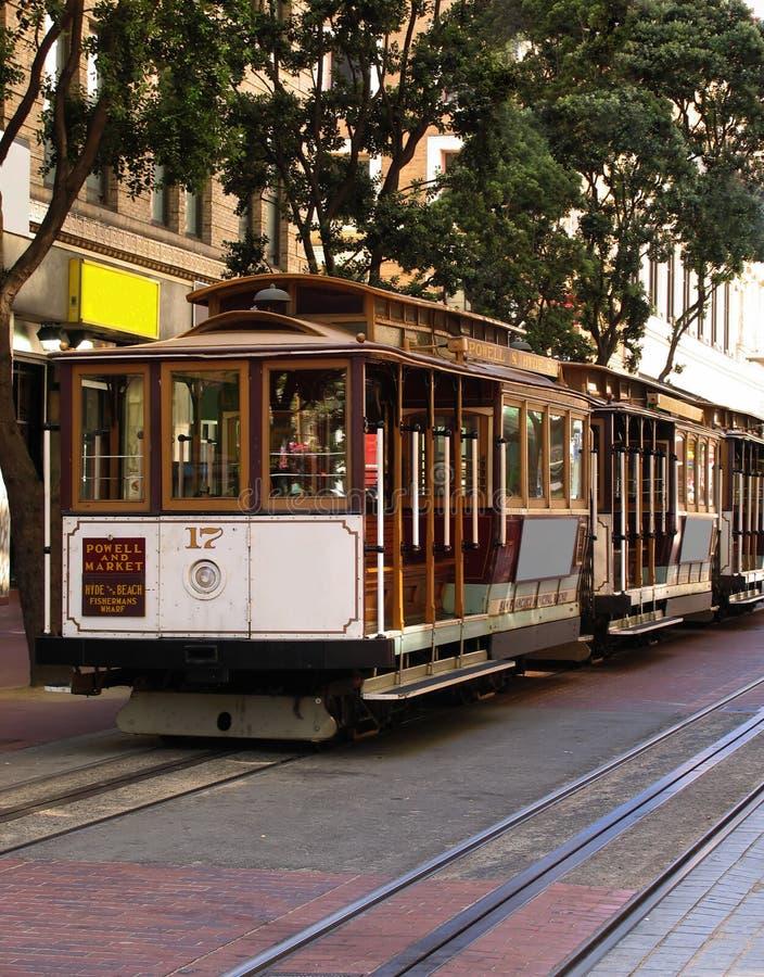 Three San Francisco Cable Cars at Powell Street Terminal royalty free stock image