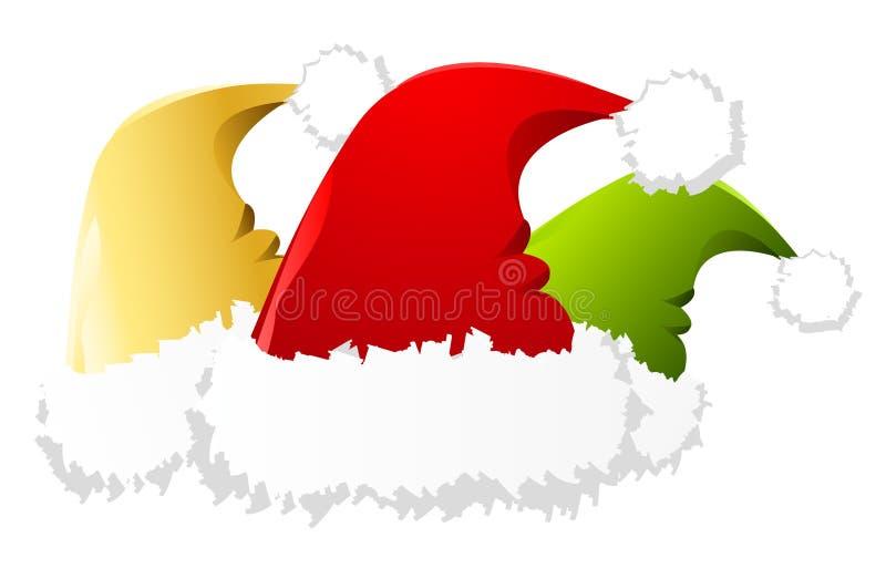 Three santa hats royalty free illustration