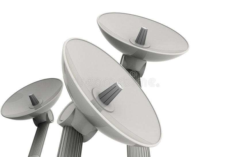 Three Satellite Dishes Stock Photography