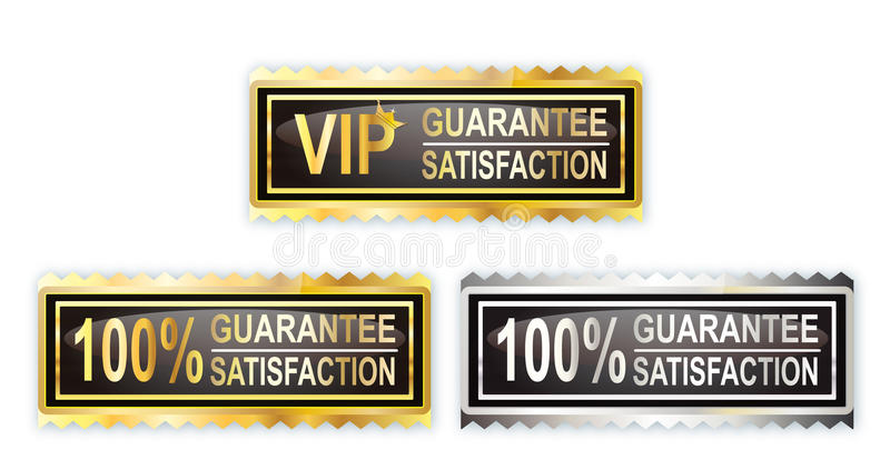100 Guarantee Satisfaction Stamp. Three 100 satisfaction guarantee with gold and silver color stock illustration