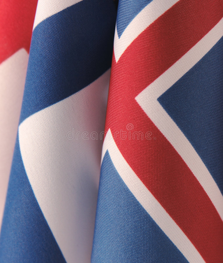 Three Scandinavian flags. Curving flags of Finland, Iceland and Denmark stock photography