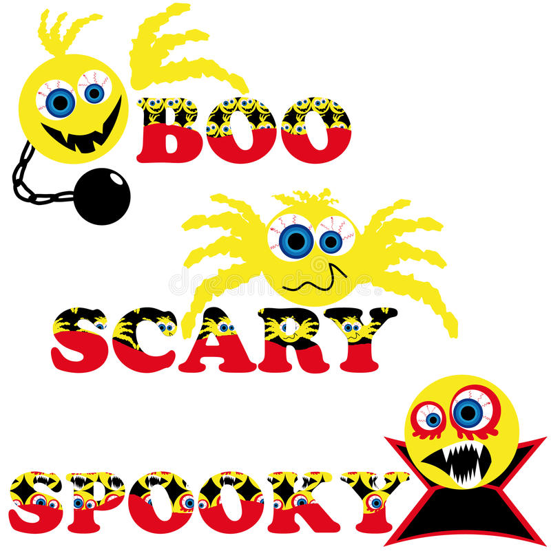 Download Three Scary Halloween Smileys With Text Stock Vector - Illustration: 10284835