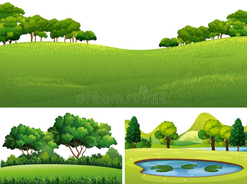 Three scenes with green lawn and pond. Illustration vector illustration