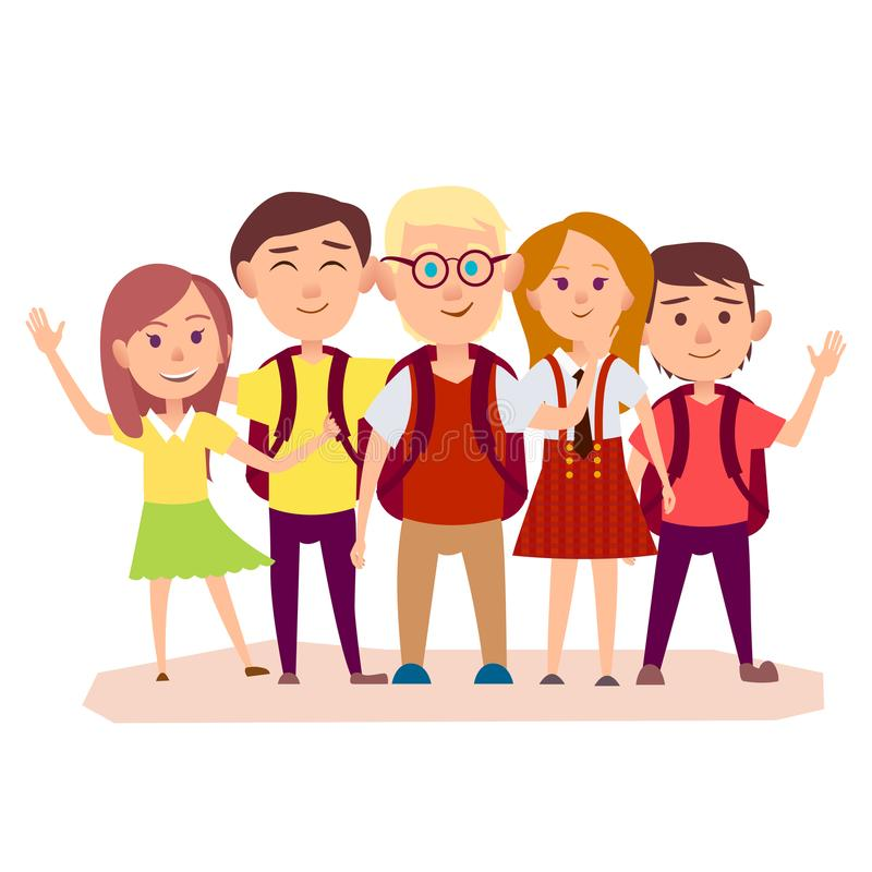 Three Schoolboys with Backpacks and Three Girls royalty free illustration