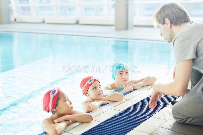 Lesson of swimming stock image