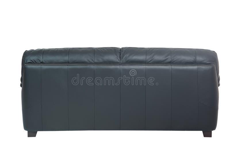 Three seats cozy black leather sofa stock photography