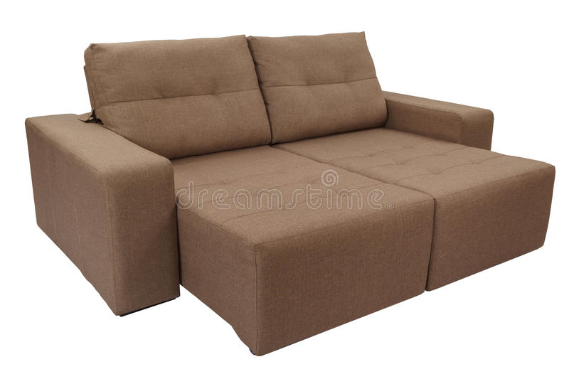 Three seats cozy brown. Fabric sofa isolated on white background stock photography
