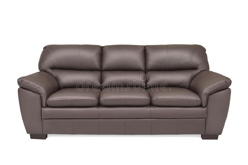 Three seats cozy brown leather stock images