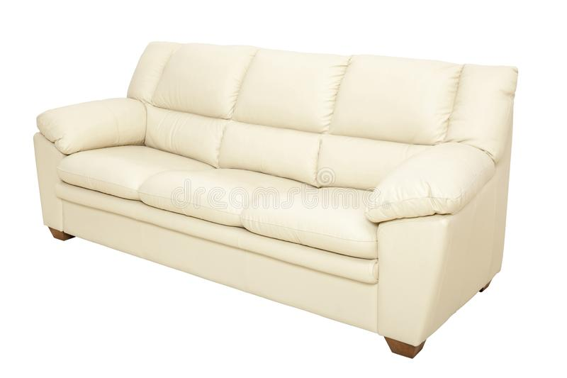 Three seats cozy leather sofa in nice champagne color, isolated stock photo
