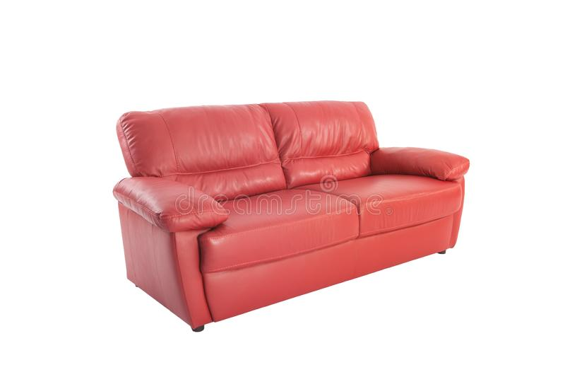 Three seats cozy red leather stock images