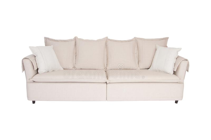 Three seats cozy sofa isolated on white royalty free stock photography