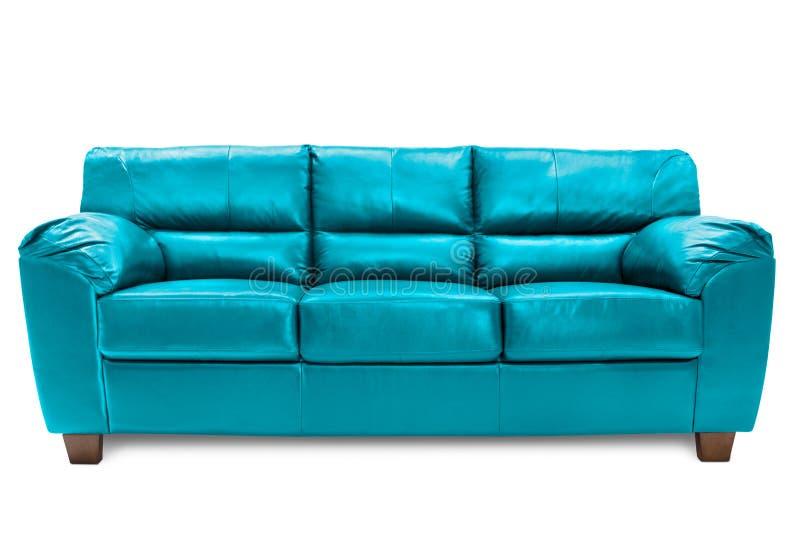 Three seats sofa cozy blue stock image