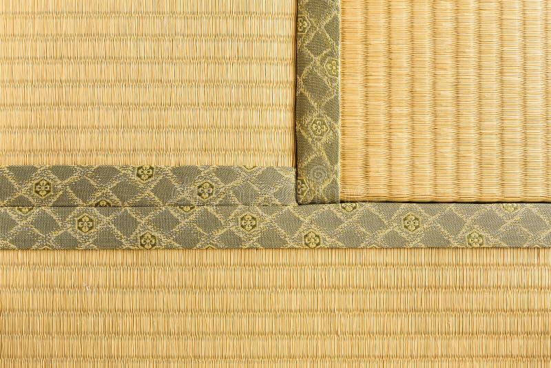 Three sections of tatami, japanese traditioanl room floor mat, l. Hokkaido, Japan - 27 December 2017 - Three sections of tatami, japanese traditioanl room floor stock photo