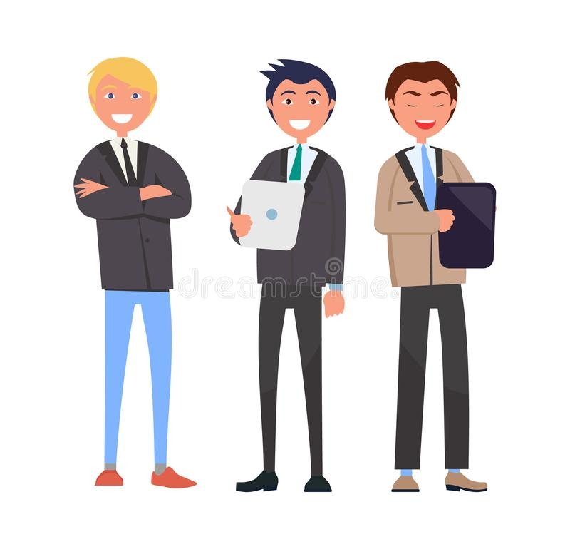 Three Self-Confident Men in Elegant Suits Vector. Illustration business characters with notebook and handbag isolated on white, managers in flat style vector illustration