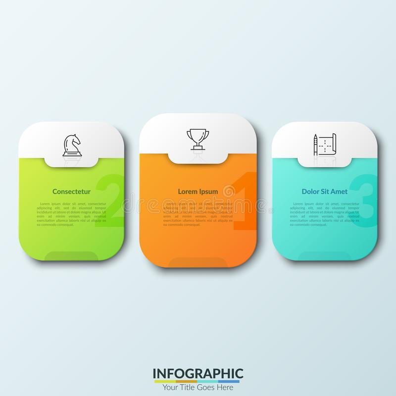Three separate white rounded rectangles with numbers, thin line pictograms and text boxes inside. Concept of 3 places. Three separate colorful rounded rectangles vector illustration