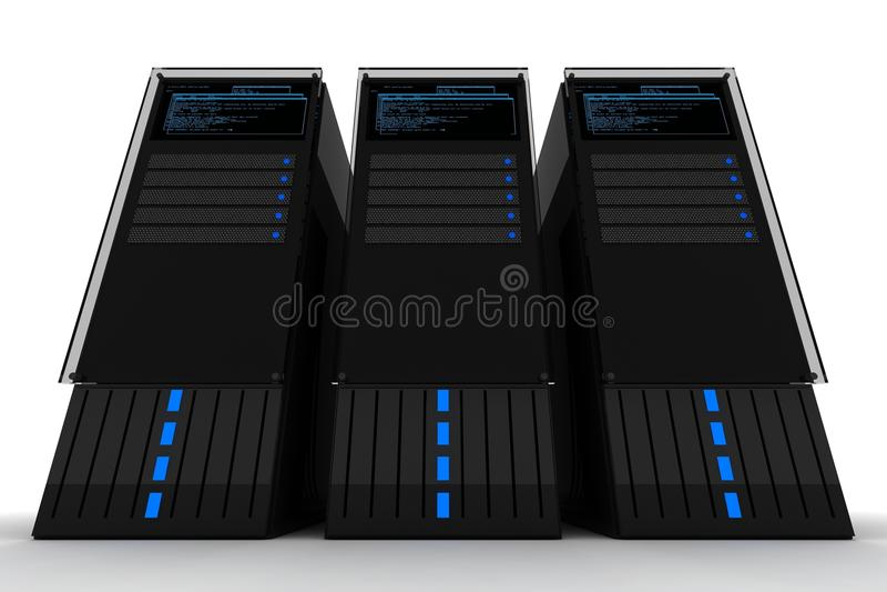Three Servers royalty free illustration