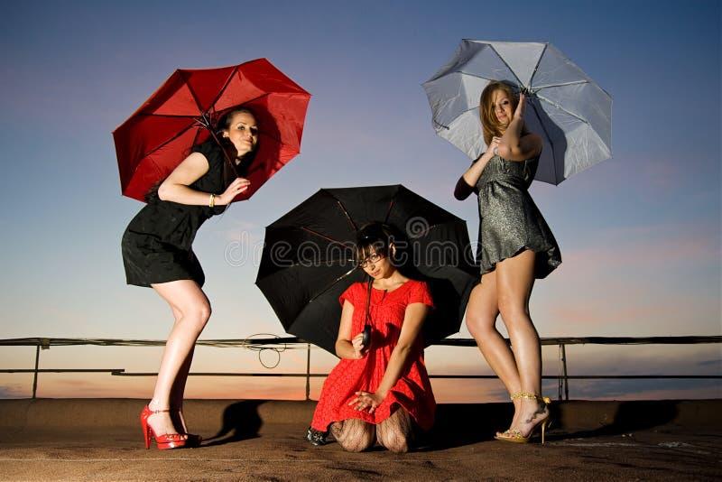 Three chicks with umbrellas posing royalty free stock photos