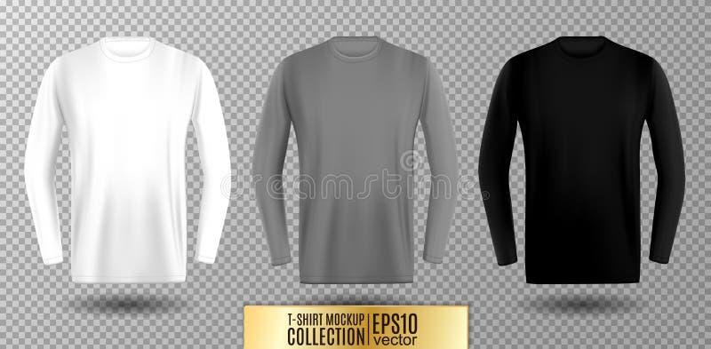 Three shades of white, gray and black long sleeve t-shirt. Vector mock up. Three shades of white, gray and black long sleeve t-shirt. Vector mock up royalty free illustration