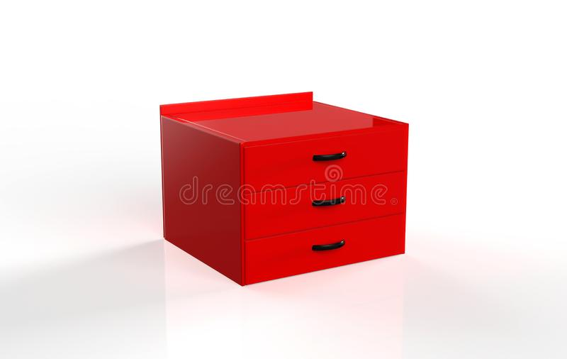 Three shelf drawer. Isolated on white background. 3d Illustration royalty free illustration