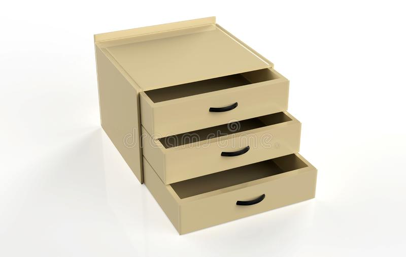 Three shelf drawer stock illustration