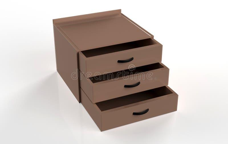 Three shelf drawer. Isolated on white background. 3d Illustration stock illustration