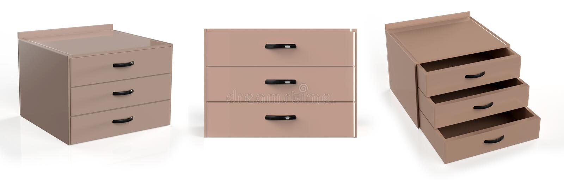 Three shelf drawer royalty free illustration