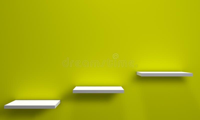 Three shelves on a wall stock illustration