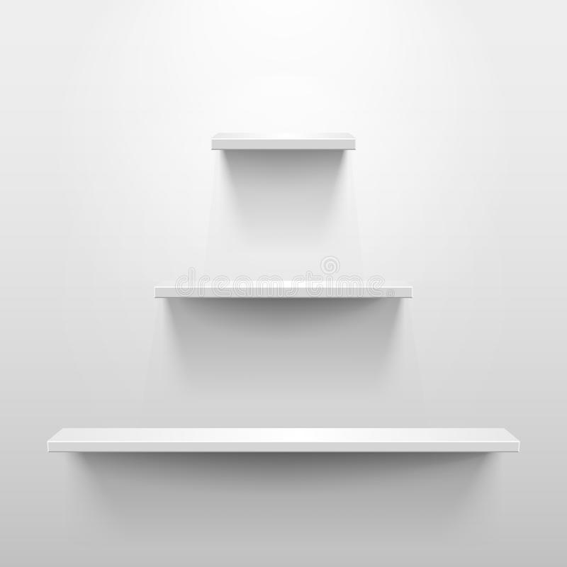 Three shelves with shadow in empty white room. Three shelves on the wall with light and shadow in empty white room. Pyramid or tree shape vector illustration