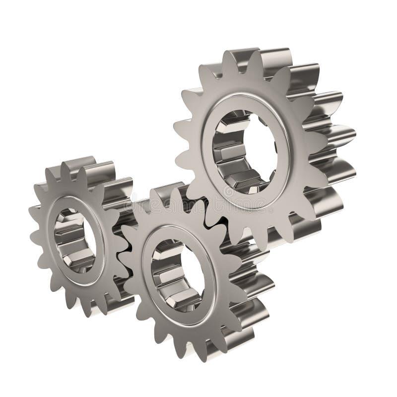Three shiny nickel gears stock photos