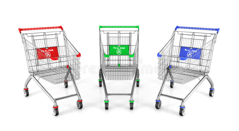 Three shopping cart in different colours. 3d illustration stock illustration