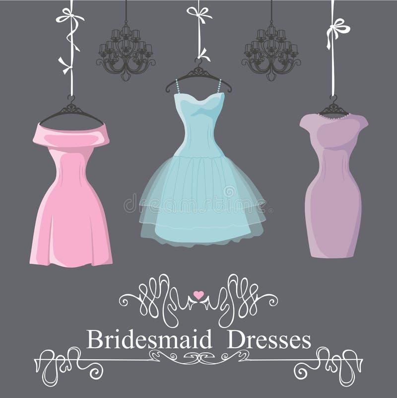 Three Short Bridesmaid Dresses Hang On Ribbons Stock Vector ...