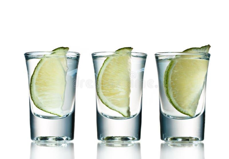 Three shots. Of tequila ready to go royalty free stock photo
