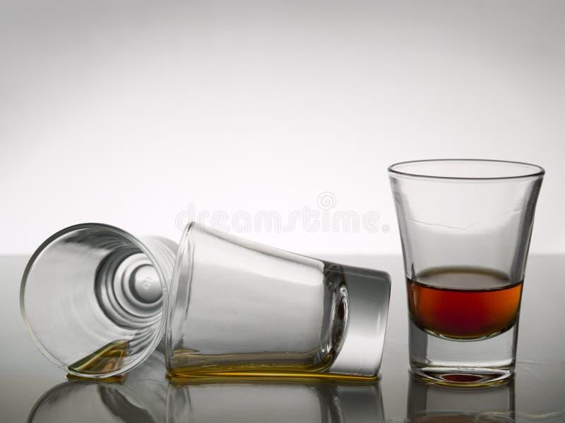 Three shots of whisky royalty free stock photos