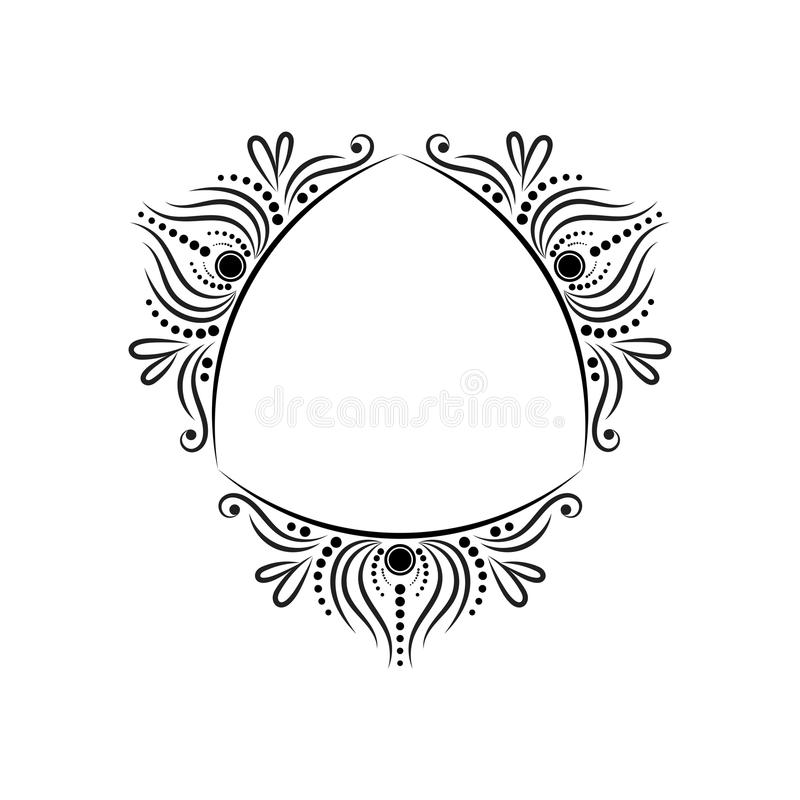Three-sided uitstekend zwart elegant klassiek kader royalty-vrije illustratie