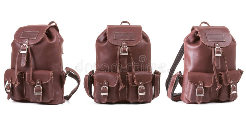 Three sides of brown, vintage backpack. Isolated on white background royalty free stock images