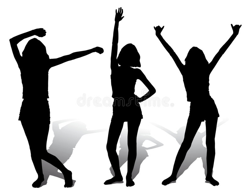 Three silhouette happy girl, vector stock illustration