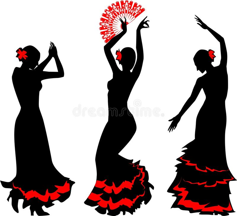 Three silhouettes of flamenco dancer with fan. Three silhouettes of flamenco dancer with red fan royalty free illustration