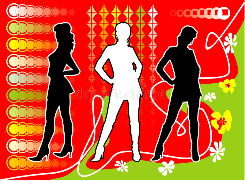 Download Three Silhouettes Of Girls, Stock Vector - Image: 10674177