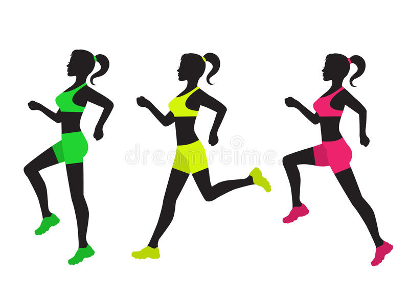 Three silhouettes of running women royalty free illustration