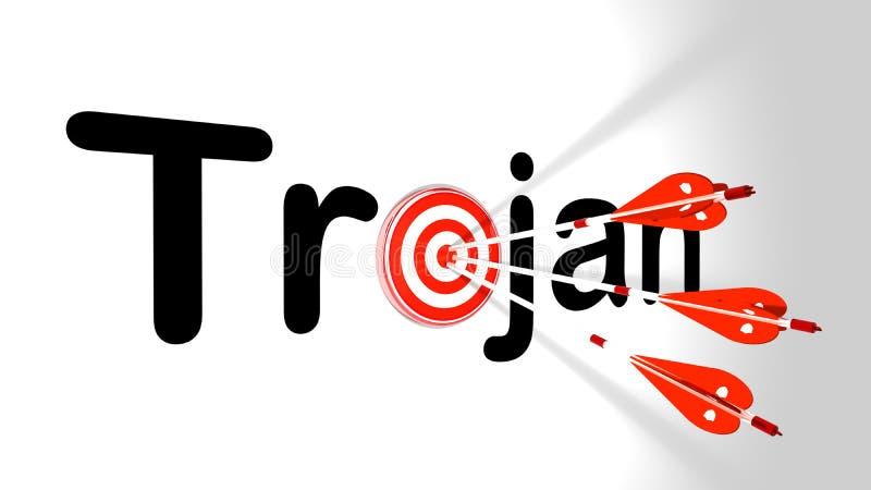 Three silver arrows hitting trojan vector illustration