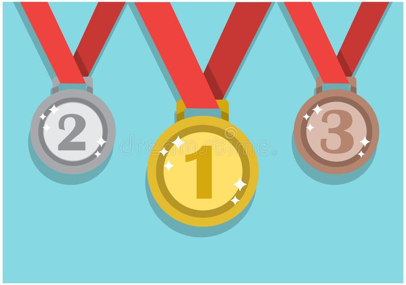 Medals to the winners of the competition stock illustration