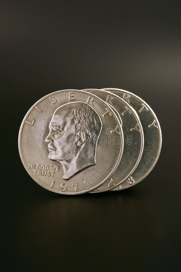 Three Silver Dollars royalty free stock images